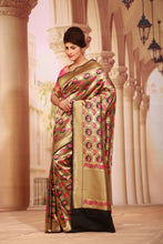 Load image into Gallery viewer, BLACK COLOUR BEAUTIFUL EPICAL KATAN SILK SAREE WITH ALL OVER FIGURE MOTIF WEAVING