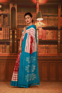 SKY BLUE COLOUR SAMBALPURI COTTON IKKAT SAREE WITH CONTRASTING TIE AND DYE WEAVING