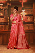 Load image into Gallery viewer, PEACH COLOUR GHICHA SILK SAREE WITH CONTRASTING ZARI WOVEN BORDER AND PALLU