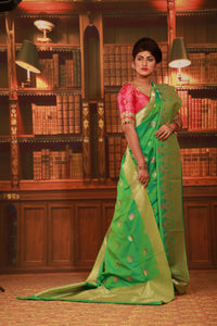 PESTA GREEN COLOUR EPICAL KATAN SILK SAREE