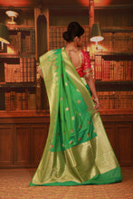 Load image into Gallery viewer, PESTA GREEN COLOUR EPICAL KATAN SILK SAREE