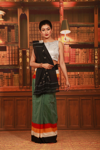 GREEN COLOUR SAMBALPURI COTTON IKKAT SAREE WITH CONTRASTING TIE AND DYE WEAVING