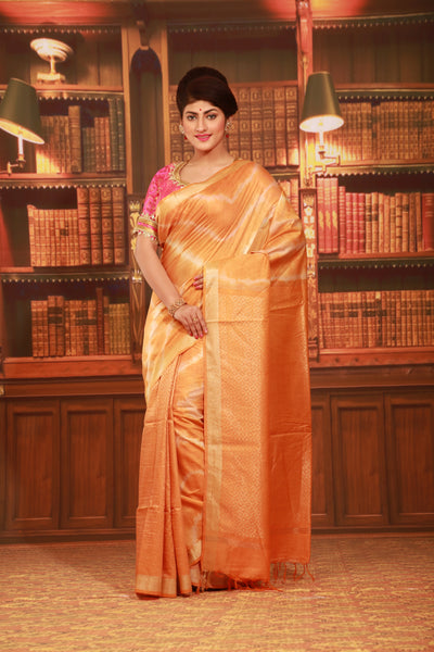ORANGE COLOUR MUGA HAND - LOOM WITH ALL OVER CONTRASTING TIE AND DYE EFFECT