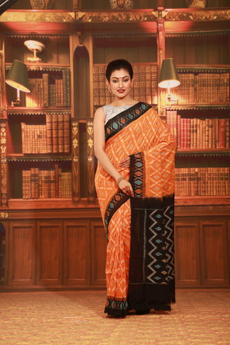 ORANGE COLOUR SAMBALPURI COTTON IKKAT SAREE WITH CONTRASTING TIE AND DYE WEAVING