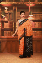 Load image into Gallery viewer, ORANGE COLOUR SAMBALPURI COTTON IKKAT SAREE WITH CONTRASTING TIE AND DYE WEAVING