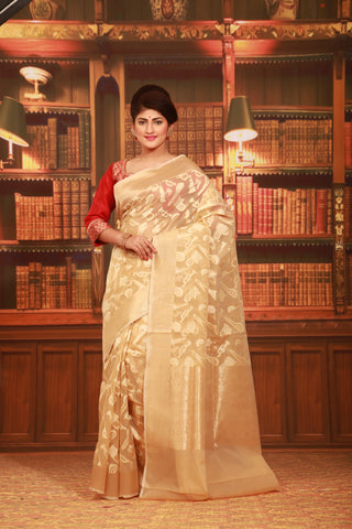 66f7632de0e8e BEIGE COLOUR BEAUTIFUL JUTE SILK SAREE WITH ALL OVER GOLDEN HIGHLIGHT