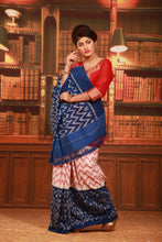 Load image into Gallery viewer, BLUE COLOUR SAMBALPURI COTTON IKKAT SAREE WITH CONTRASTING TIE AND DYE WEAVING