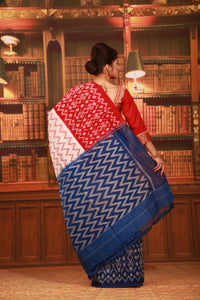 BLUE COLOUR SAMBALPURI COTTON IKKAT SAREE WITH CONTRASTING TIE AND DYE WEAVING