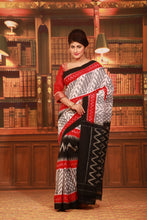 Load image into Gallery viewer, WHITE COLOUR SAMBALPURI COTTON IKKAT SAREE WITH CONTRASTING TIE AND DYE WEAVING