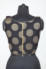 Load image into Gallery viewer, BLACK COLOUR KINKHAB BROCADE FINISH SLEEVELESS BLOUSE