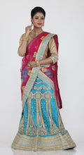 Load image into Gallery viewer, UNSTITCH SKY BLUE COLOUR NET LEHENGA WITH CONTRASTING THREAD AND ZARI EMBROIDERY