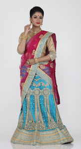 UNSTITCH SKY BLUE COLOUR NET LEHENGA WITH CONTRASTING THREAD AND ZARI EMBROIDERY