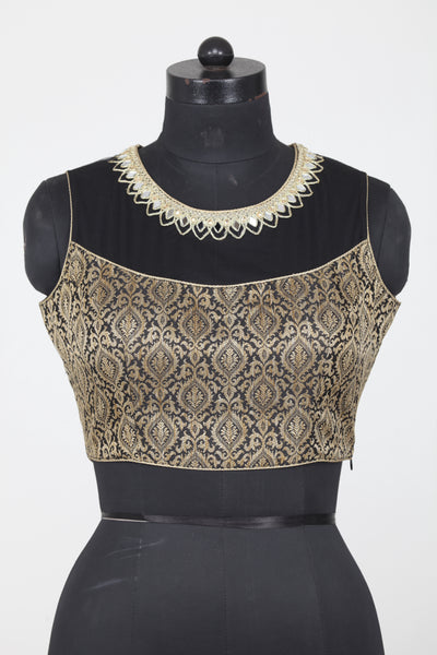 BLACK COLOUR KINKHAB BROCADE FINISH SLEEVELESS BLOUSE