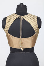 Load image into Gallery viewer, GOLDEN COLOUR SHIMMER FABRIC SLEEVELESS BLOUSE