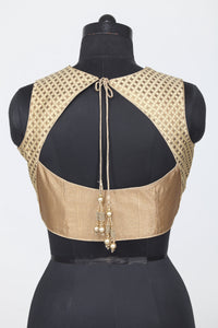 GOLDEN COLOUR SHIMMER FABRIC SLEEVELESS BLOUSE
