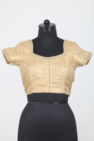 GOLDEN COLOUR TEXTURED DUPION SILK  BLOUSE