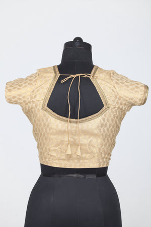 GOLDEN COLOUR SELF LEAF MOTIF DUPION SILK BLOUSE