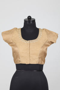 GOLDEN COLOUR FLORAL TEXTURED DUPION SILK BLOUSE