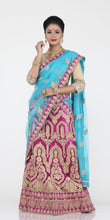 Load image into Gallery viewer, UNSTITCH MAGENTA COLOUR NET LEHENGA WITH CONTRASTING ZARI EMBROIDERY