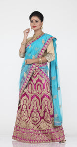 UNSTITCH MAGENTA COLOUR NET LEHENGA WITH CONTRASTING ZARI EMBROIDERY
