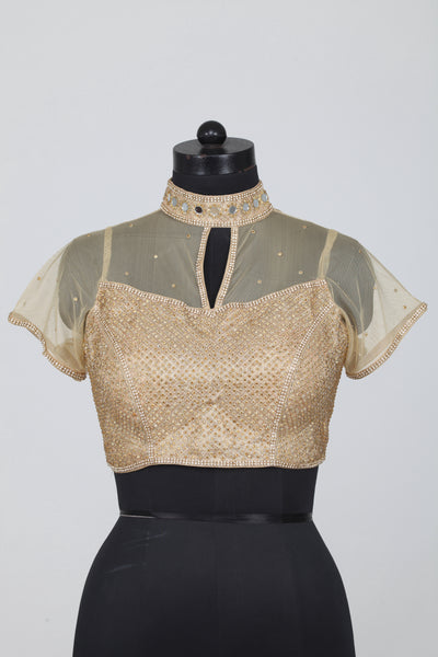 GOLDEN COLOUR HIGH NECK HEAVY MIRROR WORK BLOUSE