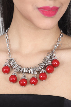 RED COLOUR BEADS AND STONE OXIDISE NECKLACE