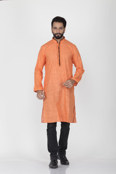 PEACH COLOUR LINEN KNEE LENGTH KURTA