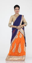 Load image into Gallery viewer, UNSTITCH ORANGE COLOUR NET LEHENGA WITH CONTRASTING ZARI EMBROIDERY