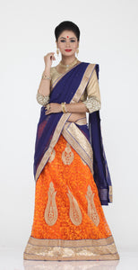 UNSTITCH ORANGE COLOUR NET LEHENGA WITH CONTRASTING ZARI EMBROIDERY