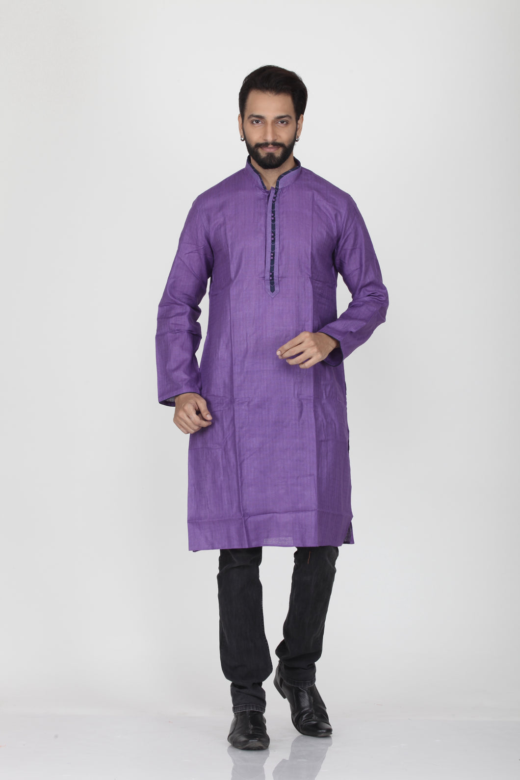PURPLE COLOUR LINEN FULL SLEEVE KURTA