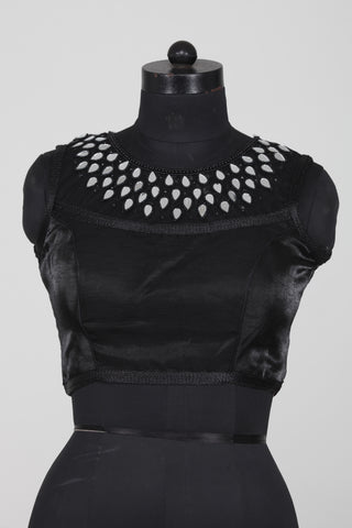 BLACK COLOUR DUPION SILK SLEEVELESS BLOUSE HAVING MIRROR WORK NECKLINE