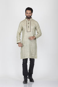 GREEN COLOUR GHICHA SILK KNEE LENGTH KURTA
