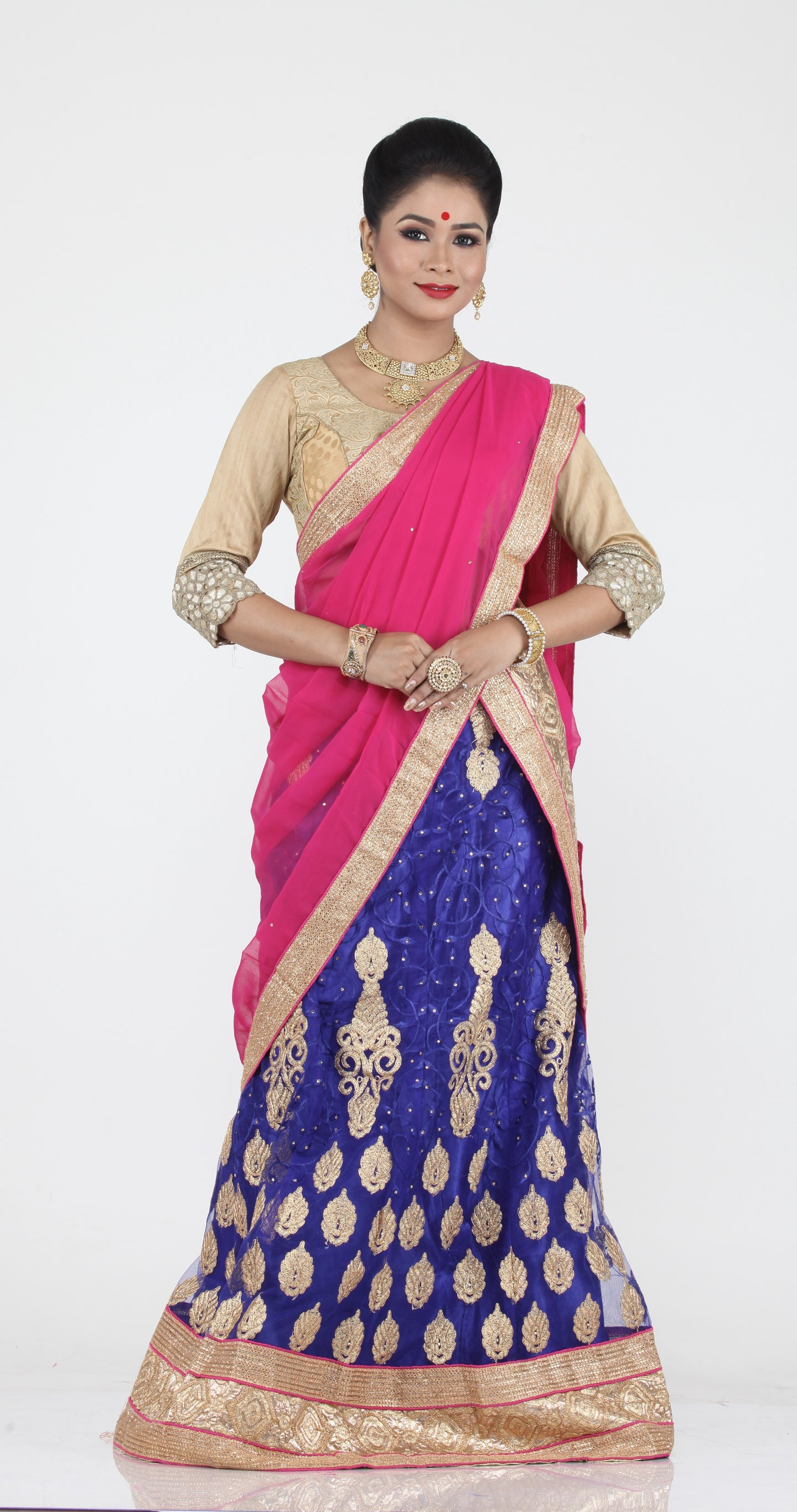 UNSTITCH ROYAL BLUE COLOUR NET LEHENGA WITH CONTRASTING ZARI EMBROIDERY