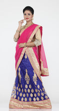 Load image into Gallery viewer, UNSTITCH ROYAL BLUE COLOUR NET LEHENGA WITH CONTRASTING ZARI EMBROIDERY