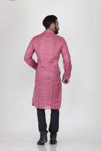 PINK COLOUR GHICHA SILK KNEE LENGTH KURTA