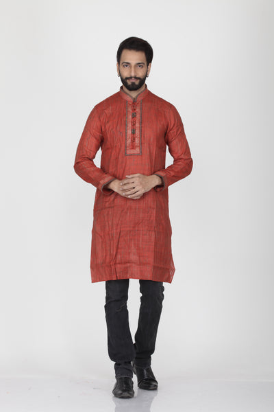 MAROON COLOUR GHICHA SILK KNEE LENGTH KURTA