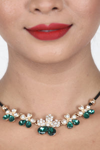 SEA-GREEN COLOUR BEAUTIFUL FLORAL BEADS NECKLACE