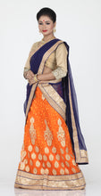 Load image into Gallery viewer, UNSTITCH ORANGE COLOUR NET LEHENGA WITH CONTRASTING GOLDEN ZARI WORK