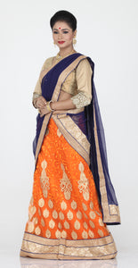 UNSTITCH ORANGE COLOUR NET LEHENGA WITH CONTRASTING GOLDEN ZARI WORK