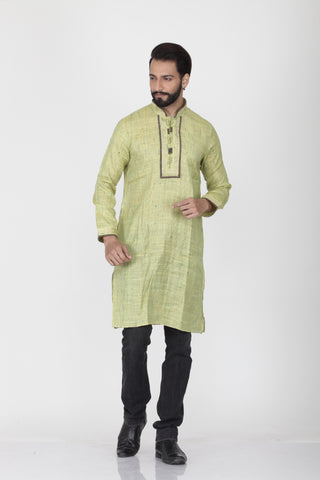 NYON GREEN COLOUR GHICHA SILK KNEE LENGTH KURTA