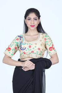 BEAUTIFUL DUPION SILK MULTI COLOURED THREAD WORK BLOUSE