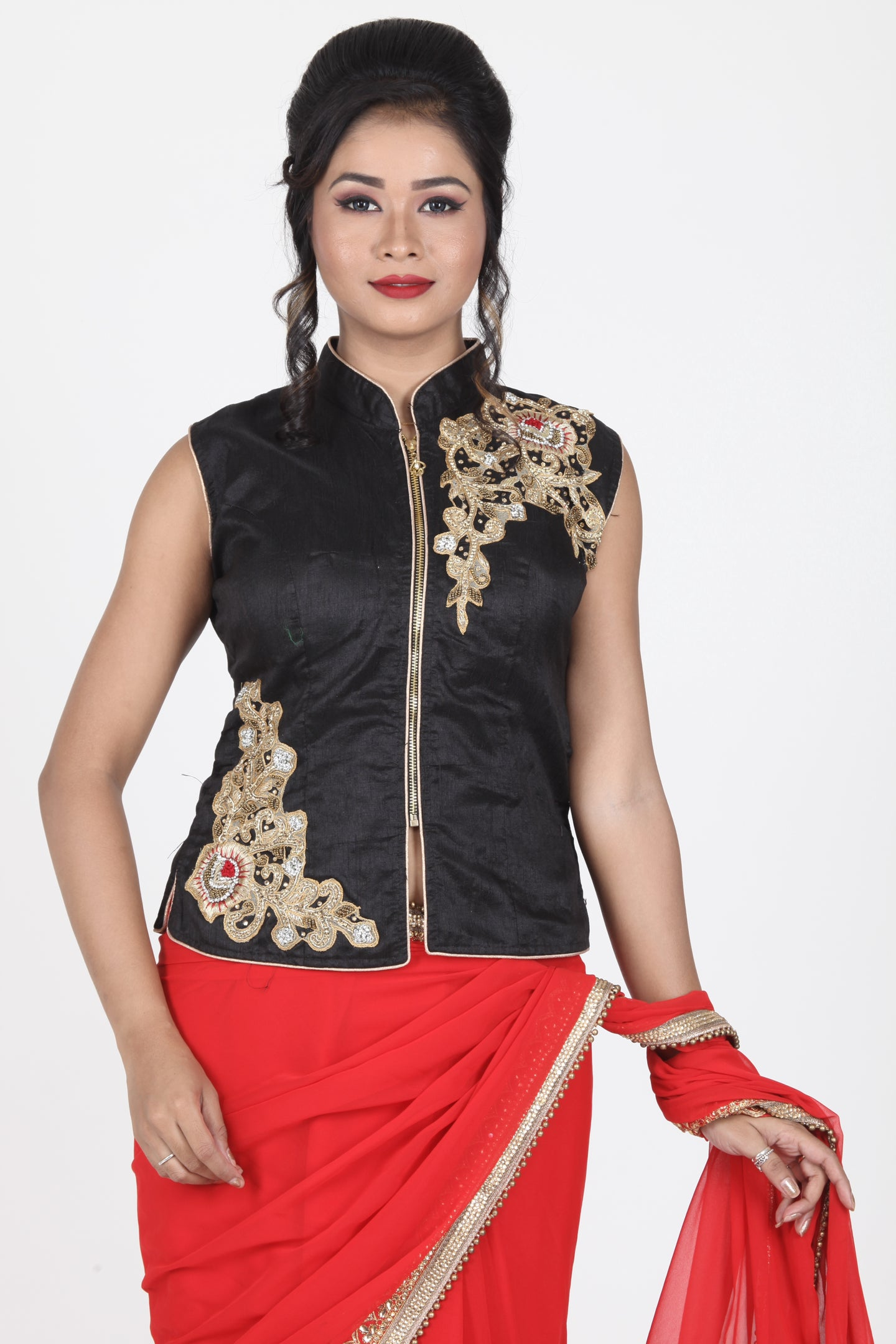 BLACK COLOUR RAW SILK EMBROIDERED JACKET BLOUSE