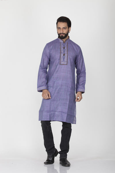 PURPLE COLOUR GHICHA SILK KNEE LENGTH KURTA