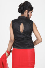 Load image into Gallery viewer, BLACK COLOUR RAW SILK EMBROIDERED JACKET BLOUSE