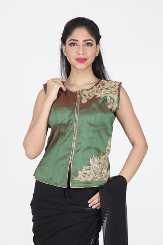 TWO TONED RAW SILK EMBROIDERED JACKET BLOUSE