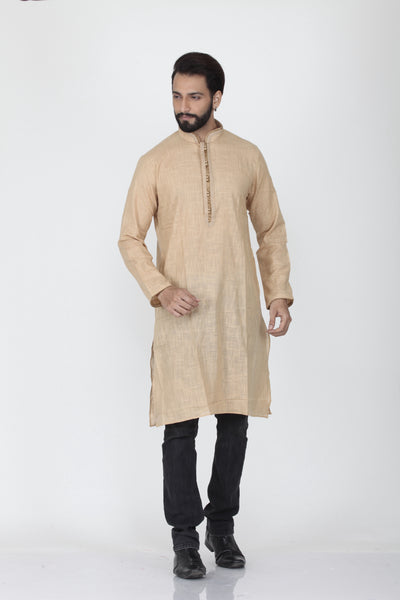BEIGE COLOUR LINEN KNEE LENGTH KURTA
