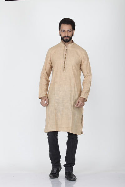 BEIGE COLOUR DUPION SILK KNEE LENGTH KURTA
