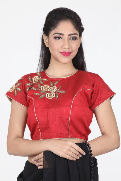 MAROON COLOUR DUPION SILK EMBROIDERED BLOUSE