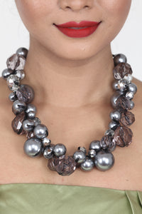 GREY COLOUR CRYSTAL AND BEADS NECKLACE