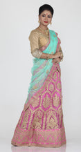 Load image into Gallery viewer, UNSTITCH PINK COLOUR NET LEHENGA WITH CONTRASTING ZARI EMBROIDERY